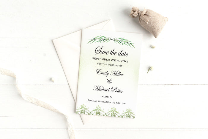 Greenery wedding save the date cards (set of 30)