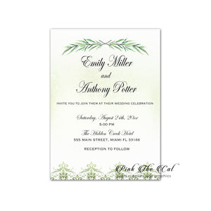100 Wedding Invitations Greenery Eucaliptus Olive Brunch Personalized