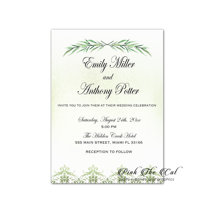 Greenery wedding invitation printable