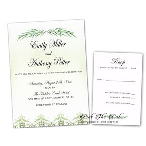 100 Wedding Invitations Greenery Watercolor Olive Brunch & RSVPs