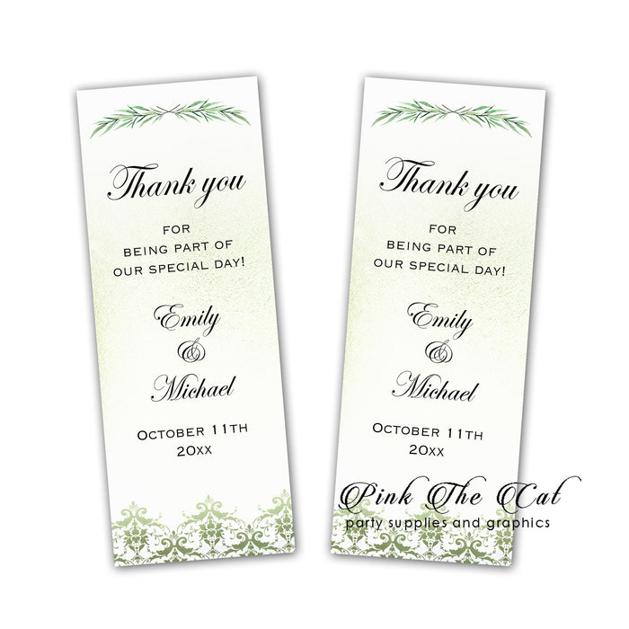 Greenery wedding bookmarks (set 25)