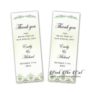 Greenery bookmarks wedding favors personalized printable