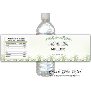 Greenery bottle label printable wedding favors personalized