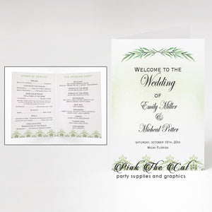 50 Wedding programs greenery olive eucaliptus branch