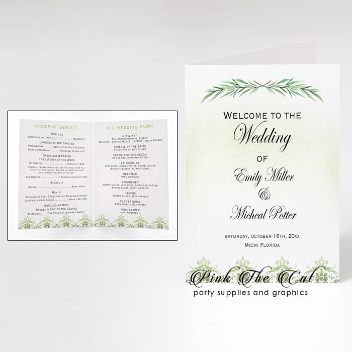 Wedding programs greenery (50 set)
