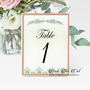 12 Table number cards greenery branch