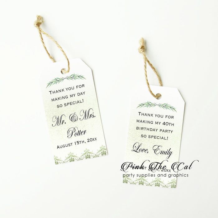 Greenery branch thank you tags (set of 48)
