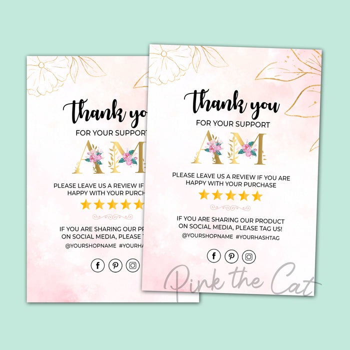 Business thank you card monogram