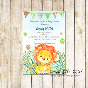 30 Lion cub invitations baby shower jungle boy