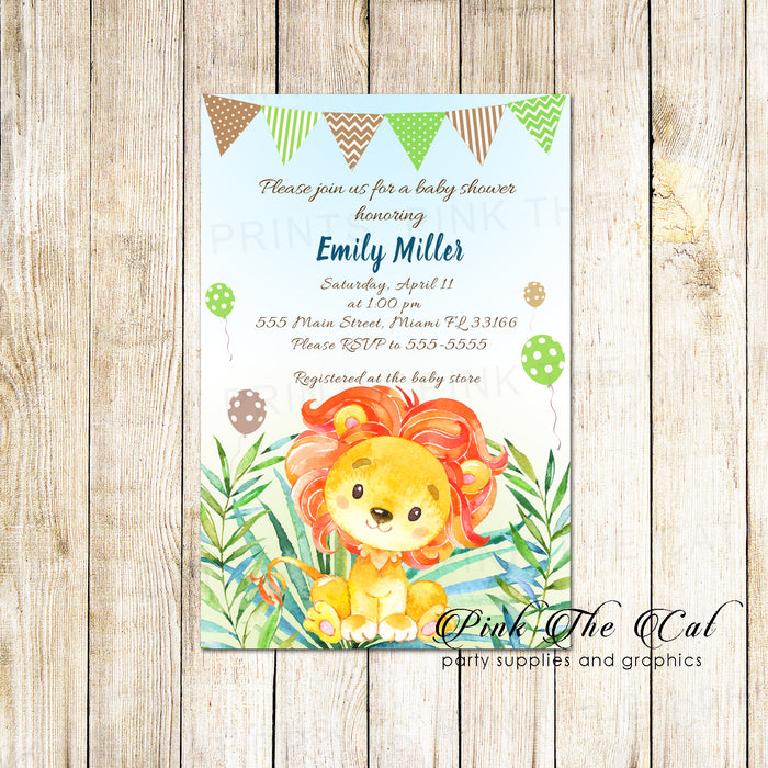 30 invitations watercolor lion cub baby shower