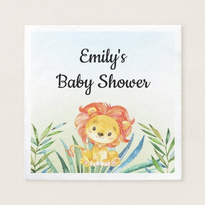 50 napkins lion cub baby shower birthday watercolor