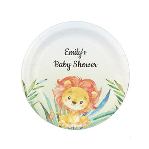 8 Lion cub watercolor party paper plates
