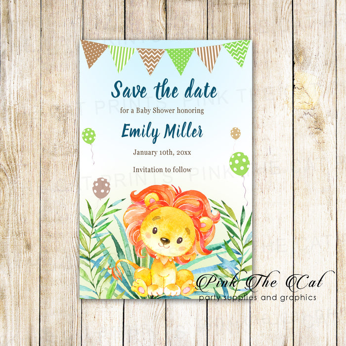 30 save the date cards lion cub baby shower birthday