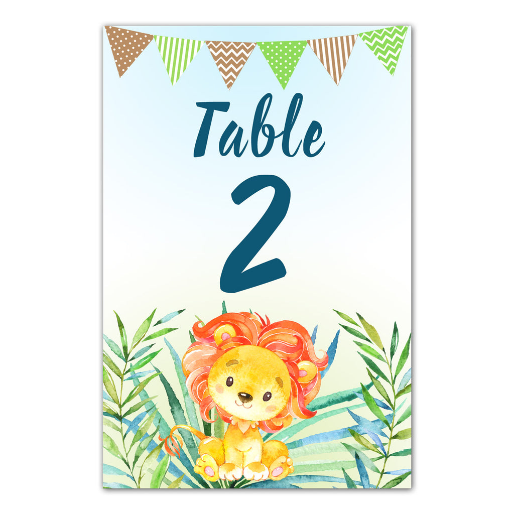 12 Table number cards lion cub birthday baby shower