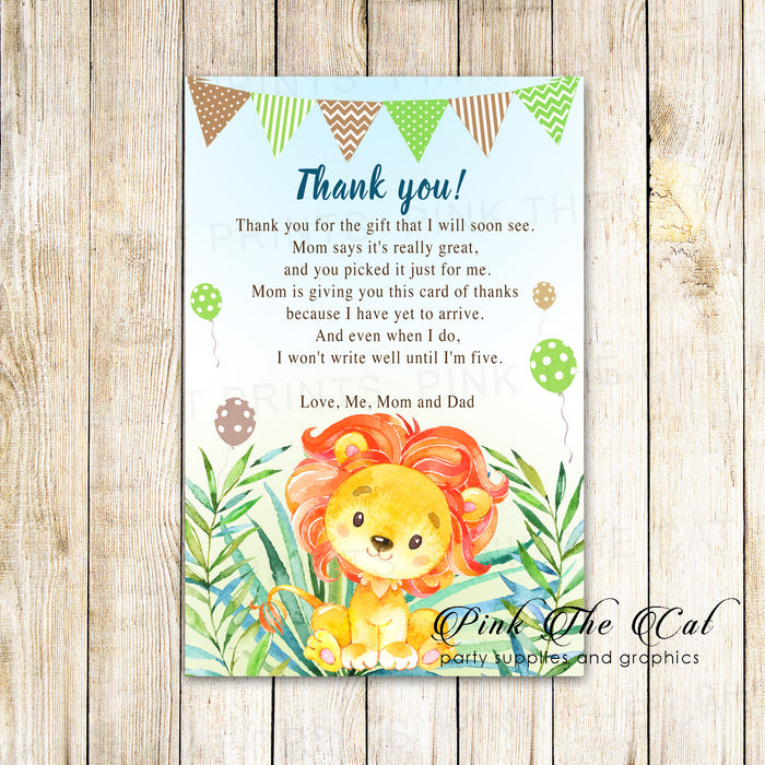 30 Lion cub watercolor baby shower thank you cards