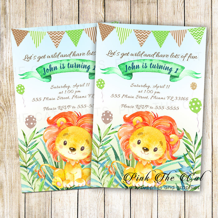 30 invitations watercolor painted lion cub boy birthday party