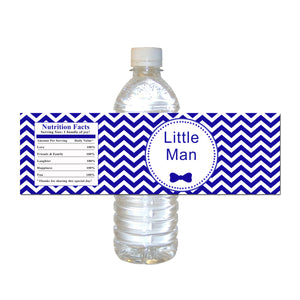 Little man baby shower royal blue bottle label (set of 30)
