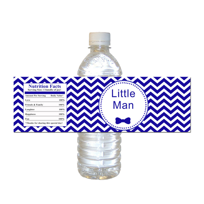 Little man blue bottle label (set of 30)