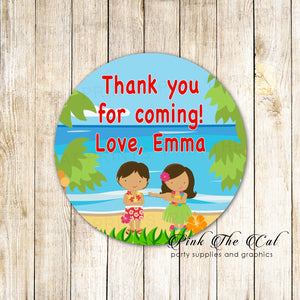 40 hawaiian luau stickers kids birthday personalized