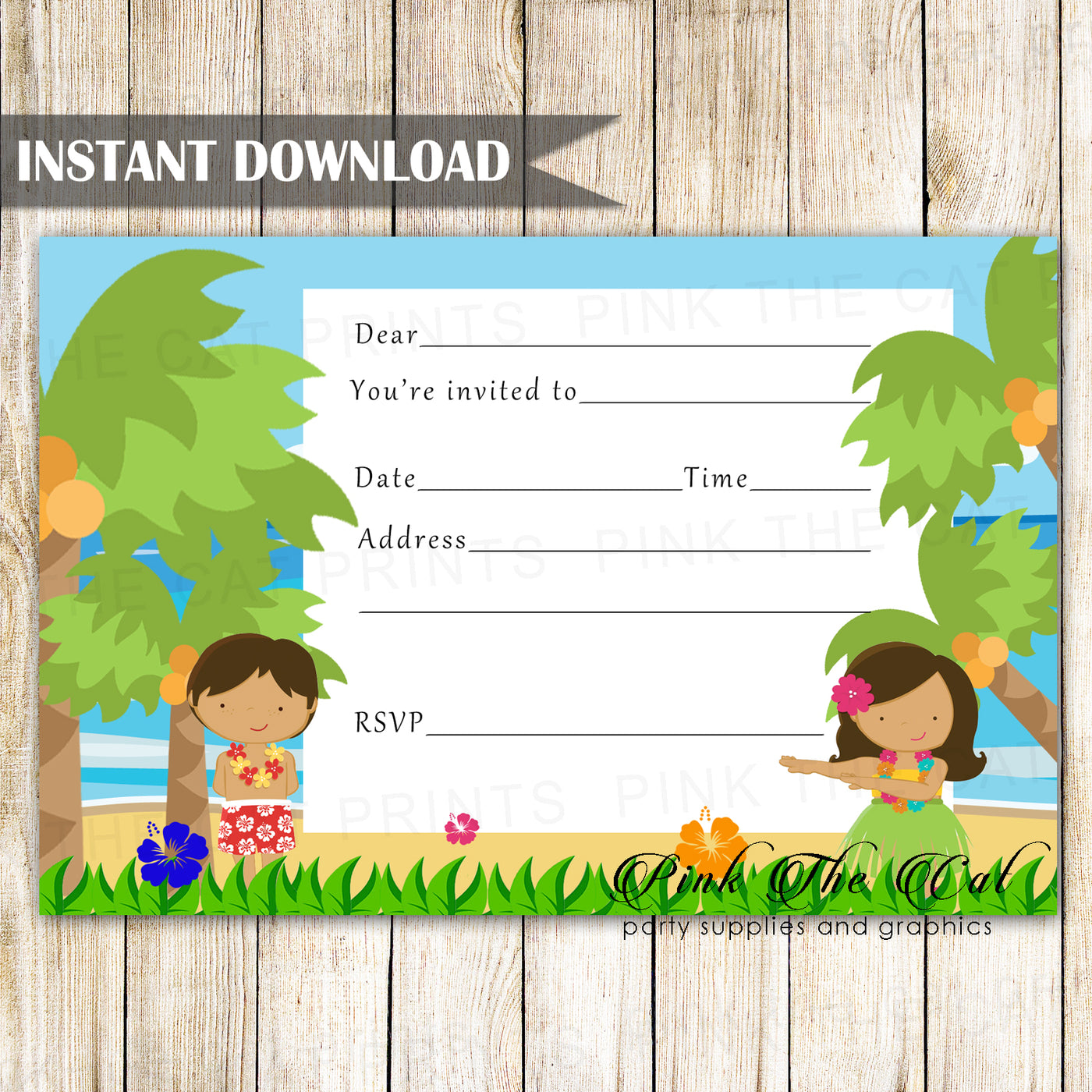 photo relating to Printable Fill Ins identified as Hawaiian Luau Invitation Fill Within just Blank Printable