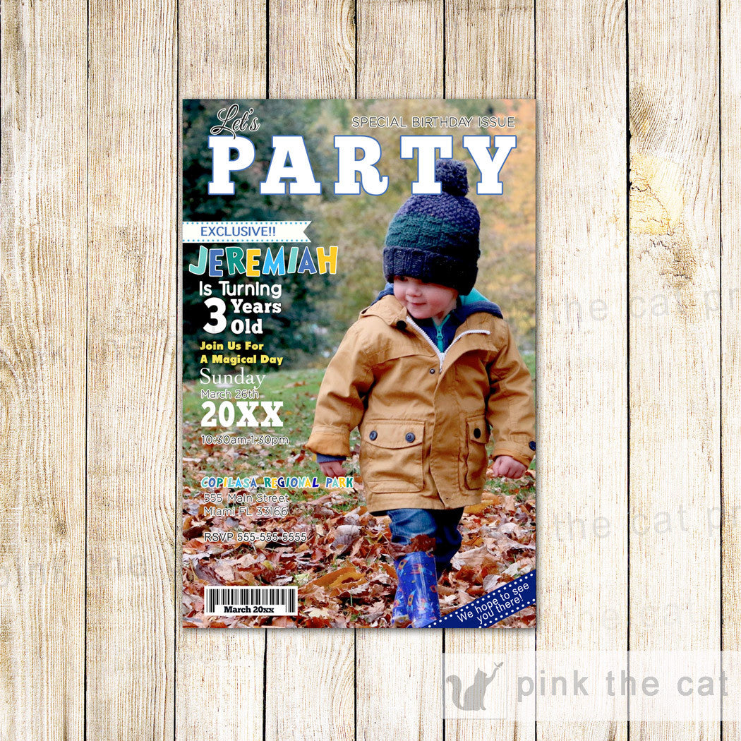 Printed Magazine Invitation For Boys