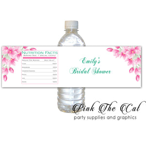 30 Pink magnolias bottle stickers favor labels personalized