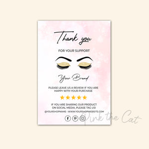 Business thank you card makeup eyelashes