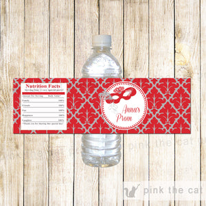 Masquerade Bottle Labels Carnival Red Silver