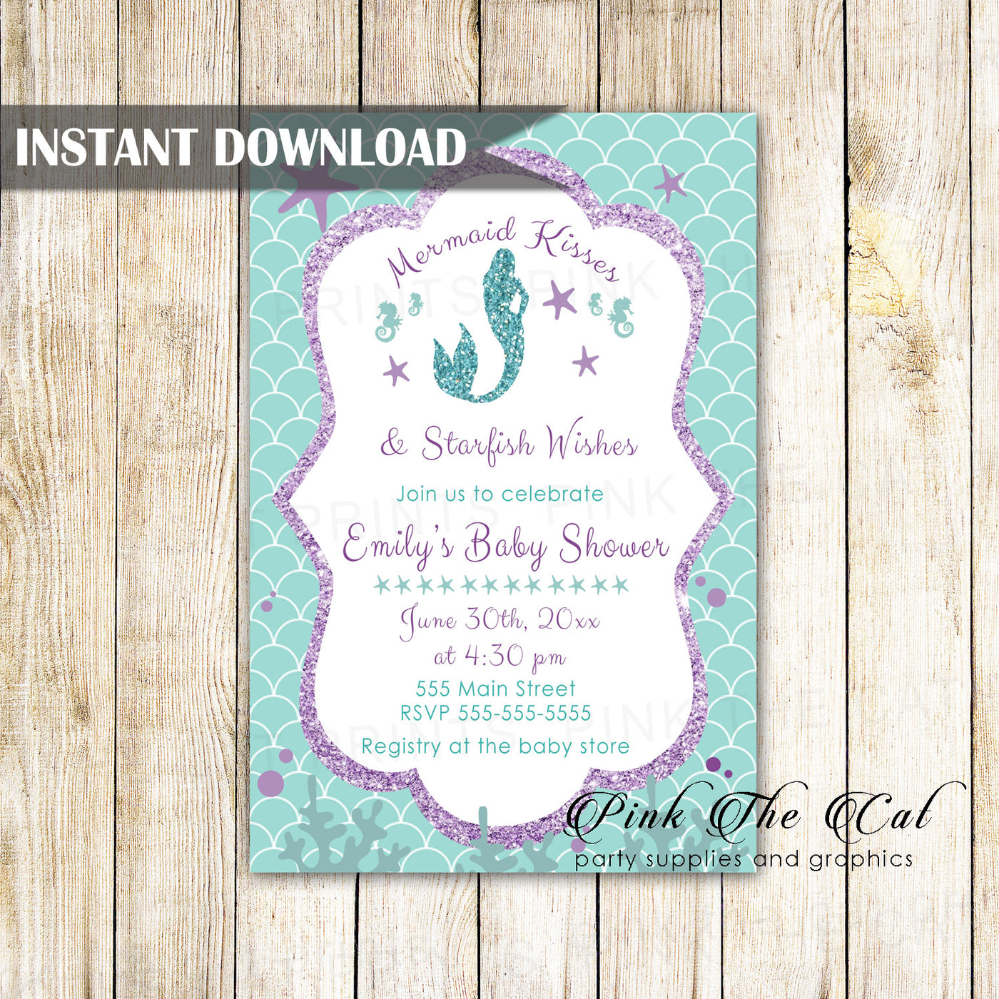 picture relating to Printable Mermaid Baby Shower Invitations named Mermaid woman child shower invitation red teal glitter printable