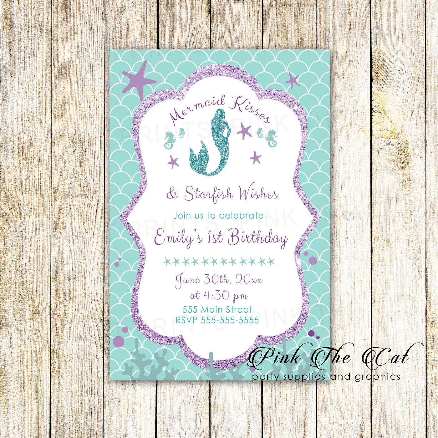30 Mermaid Girl Birthday Invitations Purple Teal Glitter Personalized Pink The Cat