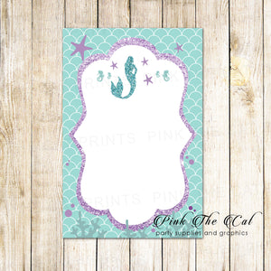 Mermaid purple teal invitation thank you card blank printable