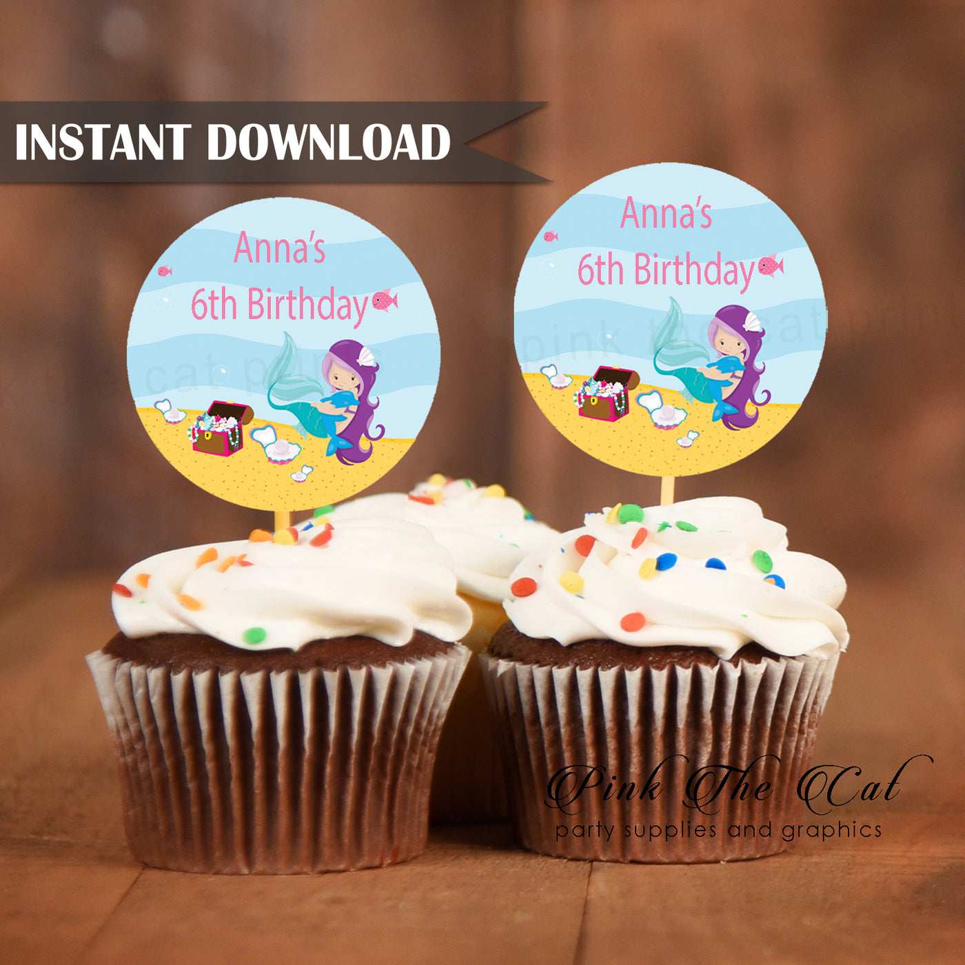 photo about Printable Cupcake referred to as Mermaid cupcake topper birthday child shower printable