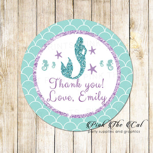 40 Mermaid Label Stickers Birthday Baby Shower Purple Teal