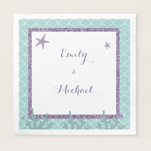 50 napkins mermaid baby shower birthday purple teal