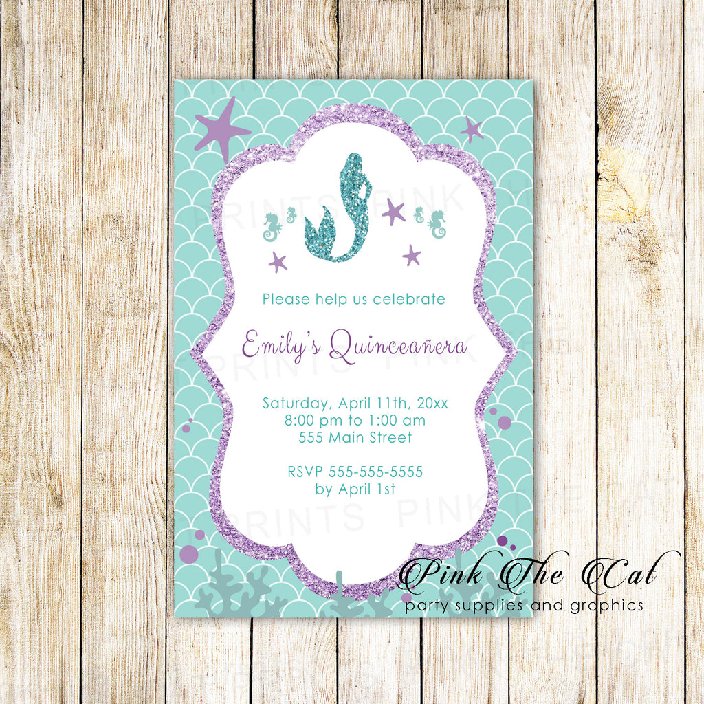 100 invitations sweet 16 quinceañera mermaid purple teal