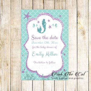 30 Save the date cards mermaid baby shower teal purple