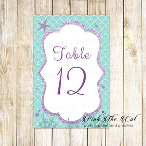 12 Table number cards under the sea birthday baby shower