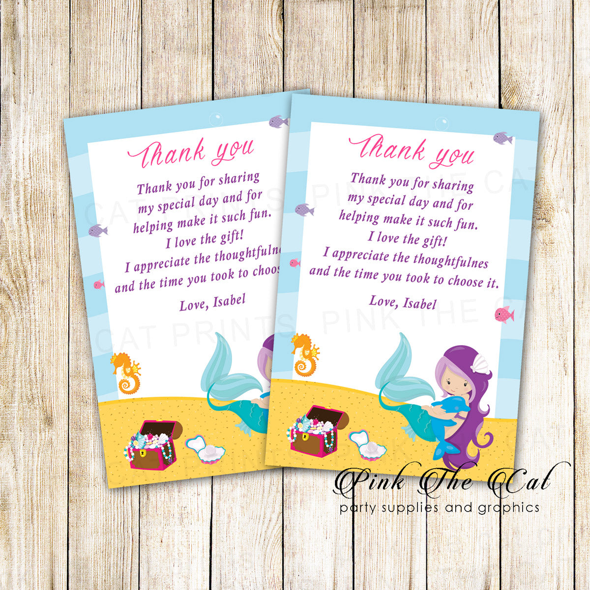 Mermaid Thank You Card Girl Birthday Baby Shower Printable Pink The Cat