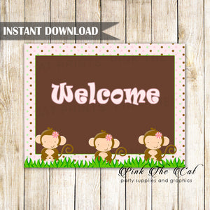 Monkey Welcome Sign Birthday Baby Shower Printable