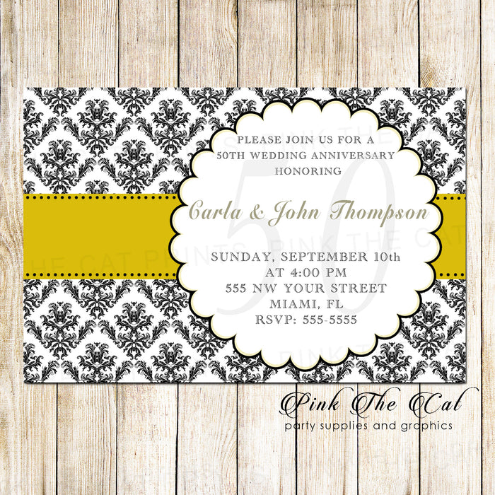 100 wedding anniversary invitations gold black damask