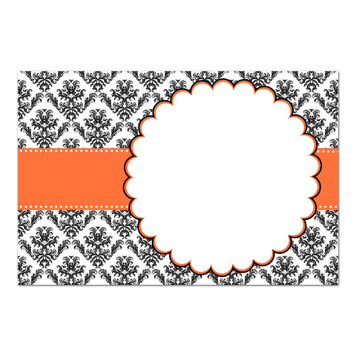 30 orange black damask invitation thank you card blank