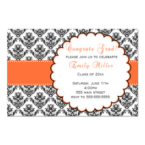 30 graduation invitations orange ribbon black damask