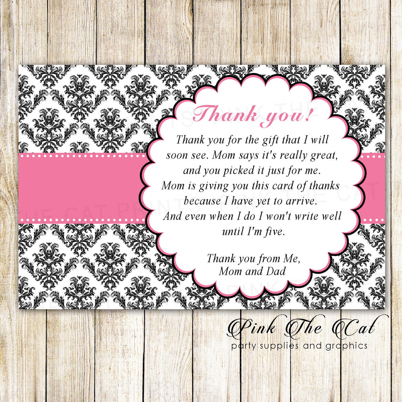 30 Girl Baby Shower Thank You Cards Pink Ribbon Damask Pink The Cat