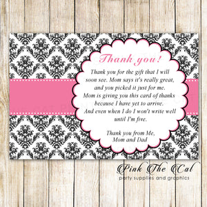 30 baby shower thank you cards pink ribbon damask