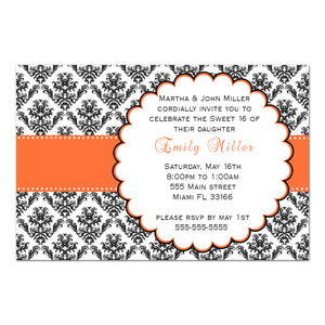 Wedding invitations orange ribbon black damask printable