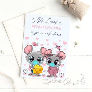 Funny quarantine cheer you up mice mouse greeting card ecard printable
