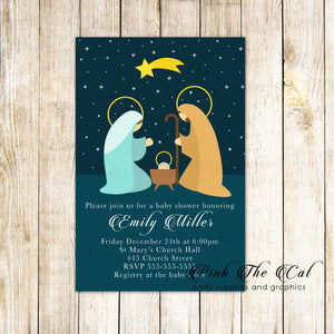 30 Holiday baby shower invitations nativity religious