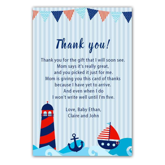 30 baby shower thank you cards nautical red blue