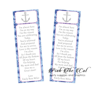 25 Nautical pink blue bookmarks girl baby shower favors
