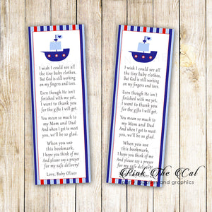 Nautical boat bookmarks printable baby shower favors personalized